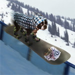 Obby the snowboarding dog