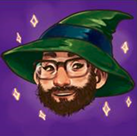 cartoon of author Zak wearing a wizard hat
