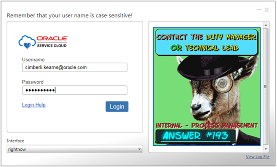 console login screen provides process quick tips from a goat in a top hat
