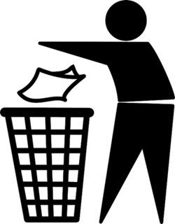 figure throws trash in trashcan