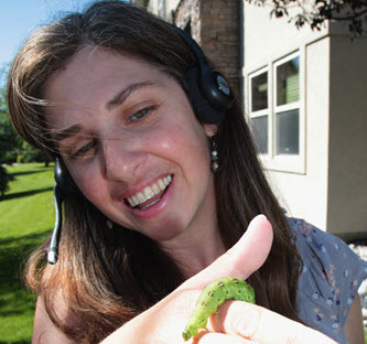 author Cyndi McWilliams finds a caterpillar