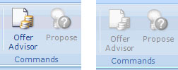 The two states of the Offer Advisor button