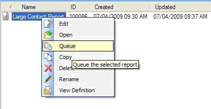 From the Report Explorer, after searching for the report you want, right click on the name of the report and click Queue