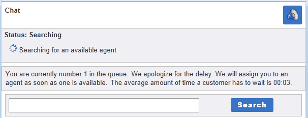 Illustrates the message shown to customers as they wait for an agent to become available.