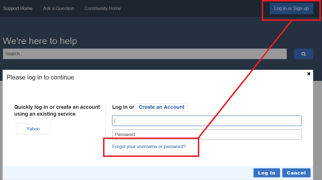 From enduser pages, select Login and click Forgot Username or Password link