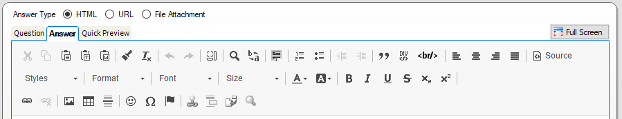 Icons allowing editing and formatting options are available from the Question and Answer sub-tabs.