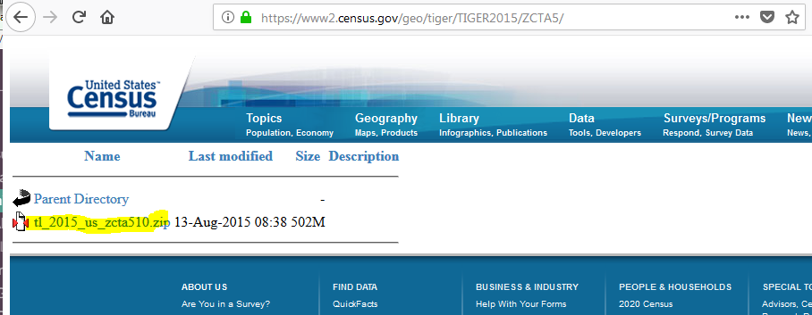 https://www2.census.gov/geo/tiger/TIGER2015/ZCTA5/  The .zip file is highlighted under Parent Directory.