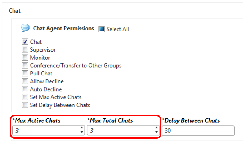 Edit a Profile, select Permissions, Service tab, and the Max and Total session settings appear at the bottom of the Chat Agent Permissions.