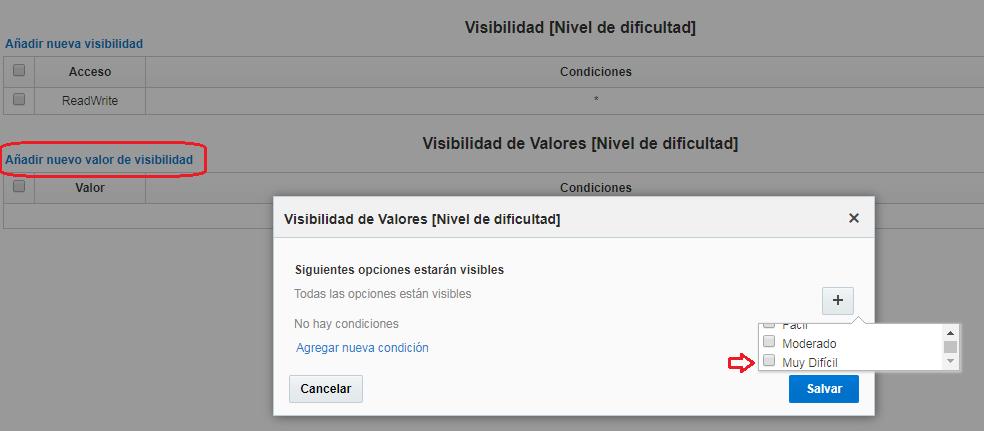 Configuración> Tipos de usuario> Configuración de pantalla> Editar/Ver Actividad. En Visibilidad de valores [Nivel de dificultad]> Agregar nuevo valor de visibilidad. El valor inactivo Muy Dificil está disponible para su selección.