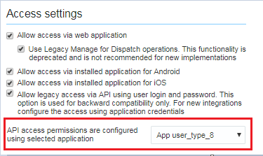 Configuración > Tipo de Usuario > General. La opción API access permissions are configured using selected application está destacada.