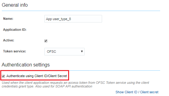 Configuration > Applications. Authenticate using Client ID/Client Secrect is marked.