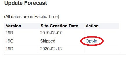 Update Forecast, Action column, click the Opt-In link