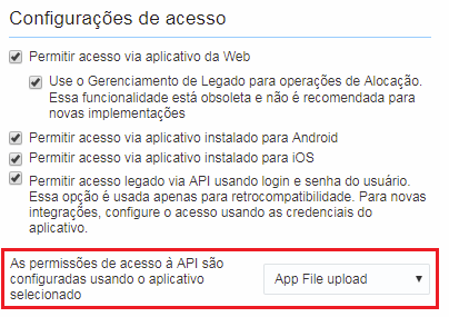 Configuração > Tipo de Usuário > Geral. A opção As permissões de acesso à API são configuradas usando o aplicativo selecionado está destacada.