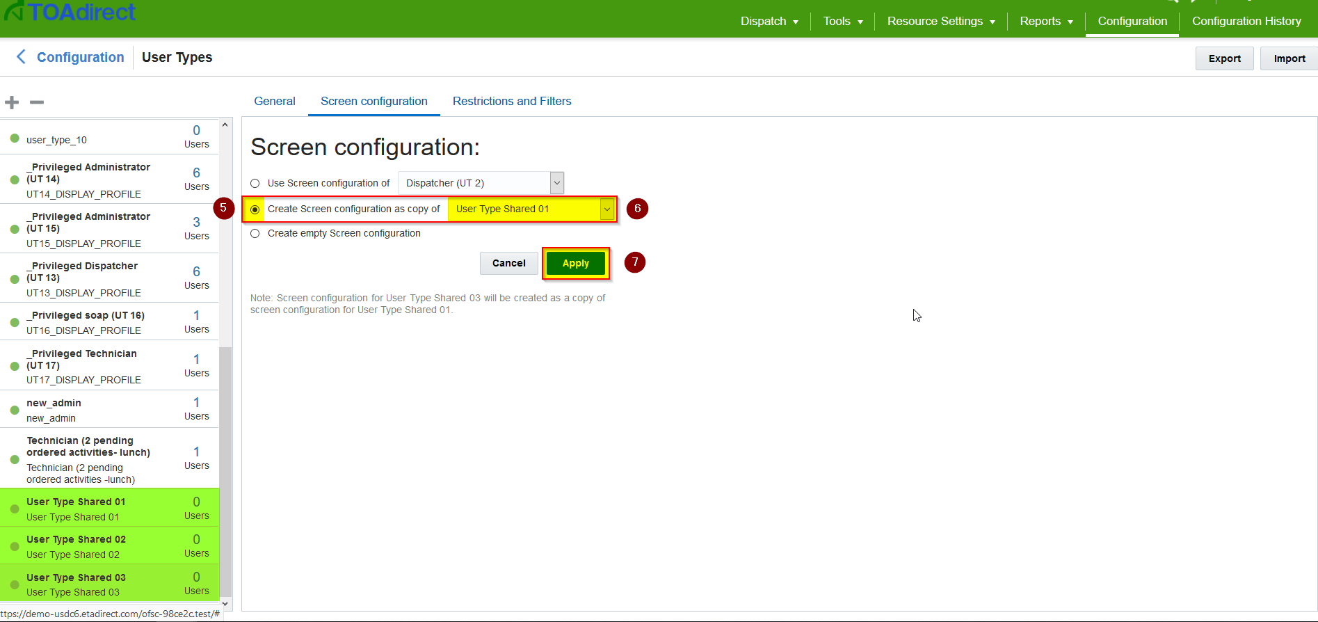 'Create Screen configuration as copy of' is selected. Apply button is highlighted for selection