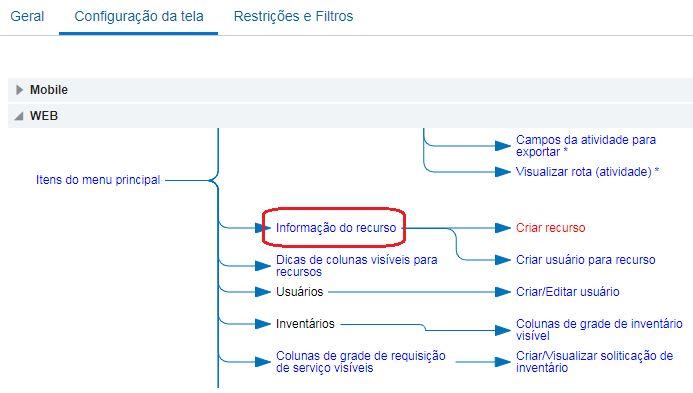 Tipos de Usuário > Configuração da Tela > Informação do Recurso