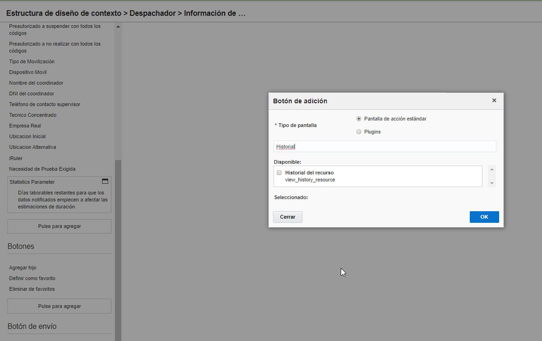 de diseño de contexto > agregar el botón Historial del Recurso