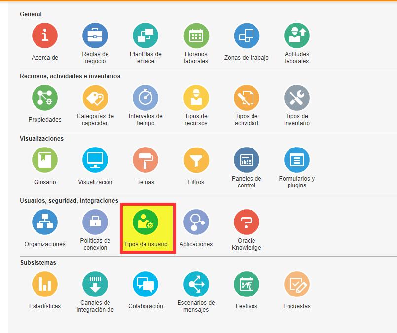 Configuración> Tipos de usuario