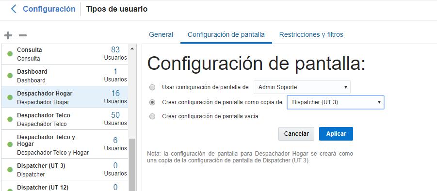 En Configuración de pantalla, la opción 'Crear configuración de pantalla como copia de' tiene valor 'Dispatcher (UT 3)'