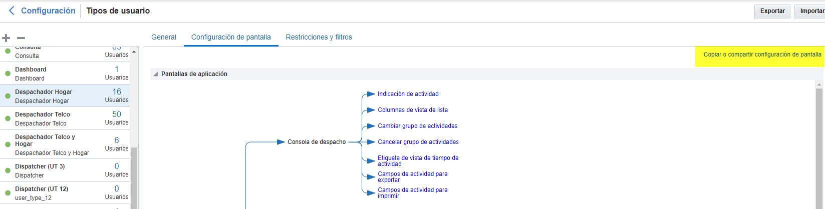 La opción Copiar o compartir configuración de pantalla está visible