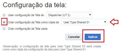 Na tela Configuração da tela, a opção 'Criar Configuração da Tela como Cópia de' está marcada. O botão 'Aplicar' está destacado.
