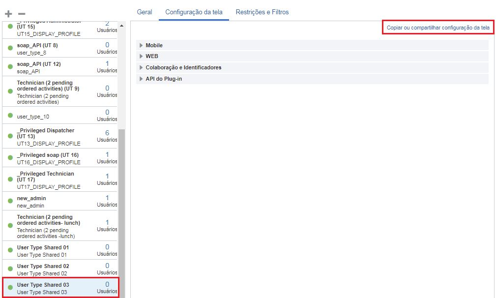 Opção 'Copiar ou compartilhar configuração da tela' está visível