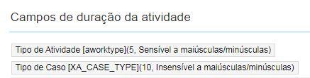 Estatísticas > Campos de duração da atividade possui valor: Tipo de Atividade[awortype] (5, Sensível a maiúsculas/minusculas) e Tipo de Caso[ XA_CASE_TYPE] (10, case sensitive)