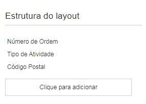 O contexto Identificar atividade por mostra as propriedades: Número de Ordem, Tipo de Atividade e Código Postal