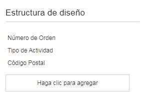 El contexto Identificar actividad por muestra las propiedades: Número de orden, Tipo de Actividad y Código Postal