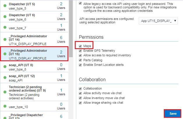User Type > select User Type > General tab > Maps checkbox is selected. Save button is highlighted.