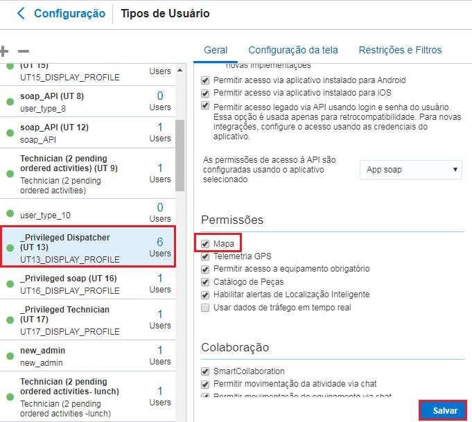 Configuração > Tipos de Usuário > selecione o Tipo de Usuário > guia Geral. A opção Mapa está selecionada. Botão Salvar está destacado.