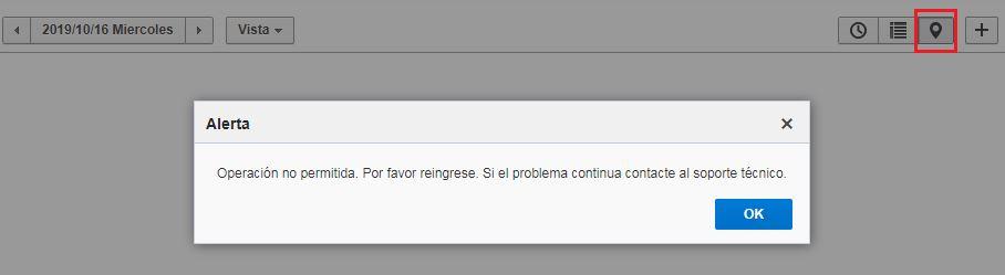 Seleccione el recurso en el Árbol de Recursos > Vista Mapa. La alerta 'Operación no permitida. Por favor reingrese. Si el problema continua contacte al soporte técnico' se muestra.