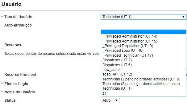 Tela Criar usuário > O novo Tipo de Usuário Dispatcher (UT 5) não está listado.