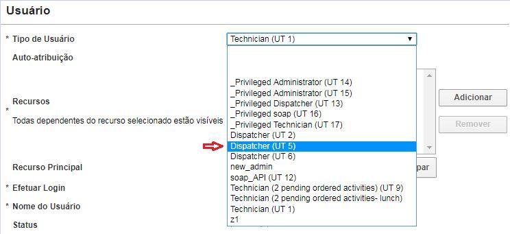 Tela Criar usuário > O novo Tipo de Usuário Dispatcher (UT 5) está listado.