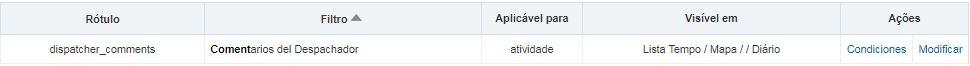 Configuración > Filtros > Filtro Comentarios del Despachador se muestra.