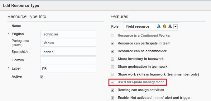 Edit Resource Type screen > Used for Quota management option is selected.