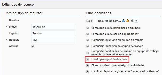 Pantalla Editar tipo de recurso > opción 'Usado para gestión de cuota' está seleccionado.