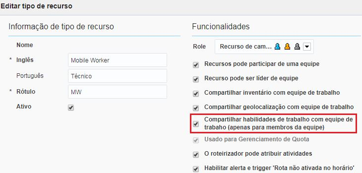 Configuration > Activity Type > Share work skills in teamwork (team-member only) option is checked.