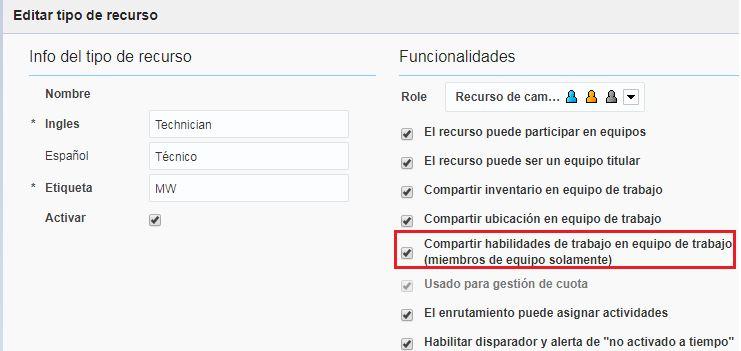 Configuración > Tipos de Actividad > la opción Compartir habilidades de trabajo en equipo de trabajo (miembros de equipo solamente) está marcada.