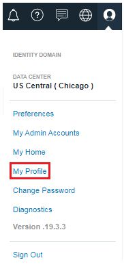 Menu on top right > My Profile option is highlighted.