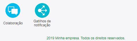 Na parte de baixo da tela Configuração, a frase '2019 Minha empresa. Todos os direitos reservados' é exibida.