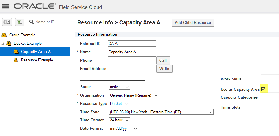 "Resource 'Capacity Area A' is a bucket configured with ""Used as Capacity Area"" attribute selected."