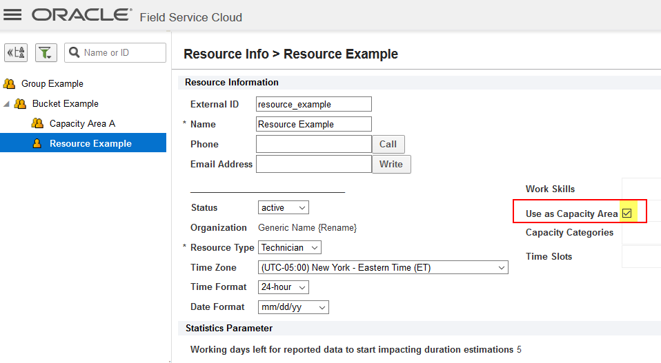 "Resource 'Resource Example' is a Technician also configured with ""Used as Capacity Area"" attribute selected."