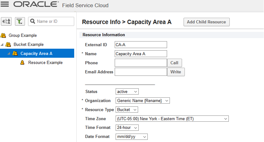 When you move 'Resource Example' to the bucket 'Capacity Area A', the attribute is automatically deselected for the parent 'Capacity Area A' and will no longer be available for selection.