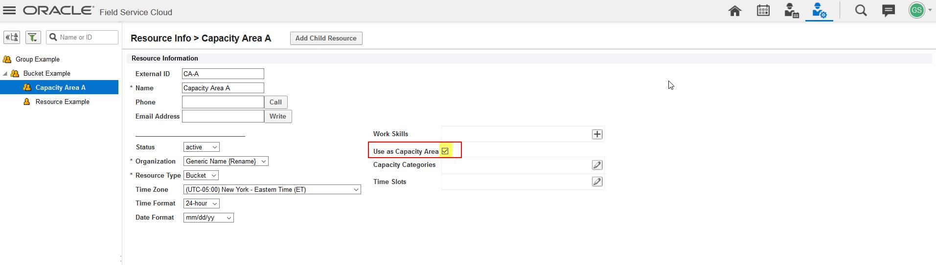 Recurso 'Capacity Area A' está selecionado na Árvore de Recursos. Na tela Recurso, o campo 'Use as Capacity Area' está selecionado.