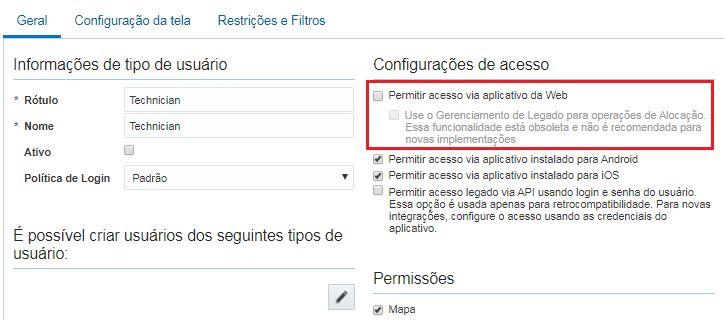 Configuração > Tipos de Usuário. O campo Permitir acesso via aplicativo da Web não está selecionado.