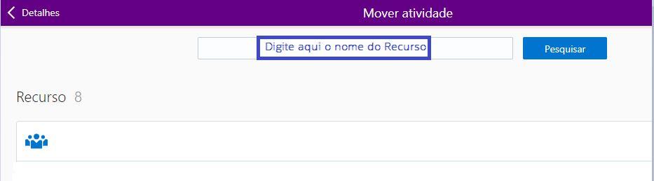Na tela 'Mover atividade', o campo de pesquisa de nome de recurso está destacado.