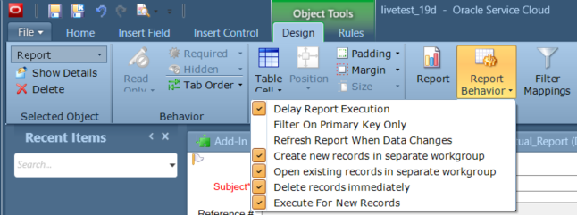 Design ribbon > Report Behavior > enable all EXCEPT Filter on Primary Key and Refresh report when data changes