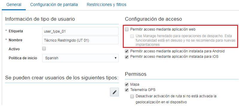 Configuración > Tipos de Usuario: el campo 'Permitir acceso mediante aplicación web' no está marcado