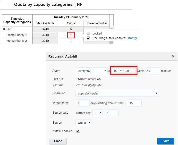 "Quote Screen > Quota by capacity categories > Click into the Quota cell > Confirm ""Recurring autofill enabled"" is enabled."