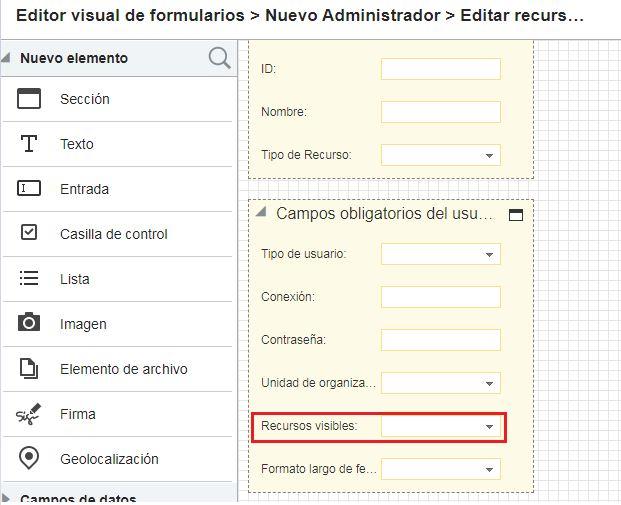 Visual Form Editor> seleccione usuario> Editar recurso / usuario> Campos obligatorios del usuario> complete el campo Recurso visible